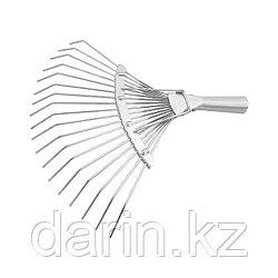 Грабли веерные стальные, 360 мм, 18 круглых зубьев, оцинкованные, без черенка, Россия, Сибртех