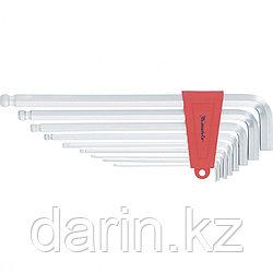 Набор ключей имбусовых HEX, 2-12 мм, CrV, 9 шт, экстра-длинные, c шаром, сатин Matrix