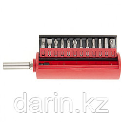 Набор бит, сталь S2, 12 шт, встроенный магнитный адаптер, пластиковый кейс Matrix Master