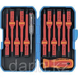 Отвертка диэлектрическая со сменными насадками, индикатор напряжения, 13 шт, CrV Барс