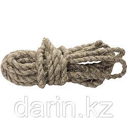 Веревка льнопеньковая, D 12 мм, L 10 м, крученая Россия Сибртех