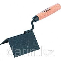 Кельма угловая, 110 х 75 х 75 мм, стальная, для внешних углов, буковая ручка Сибртех
