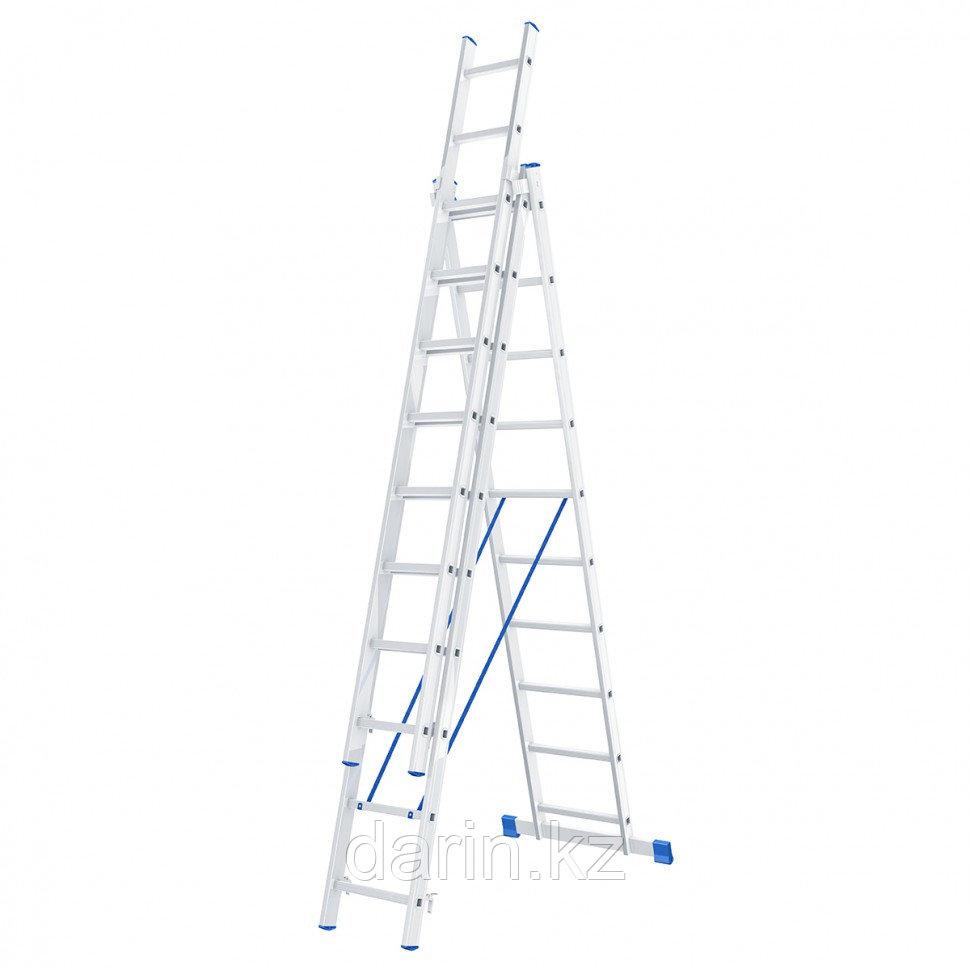 Лестница, 3 х 10 ступеней, алюминиевая, трехсекционная, Россия, Сибртех