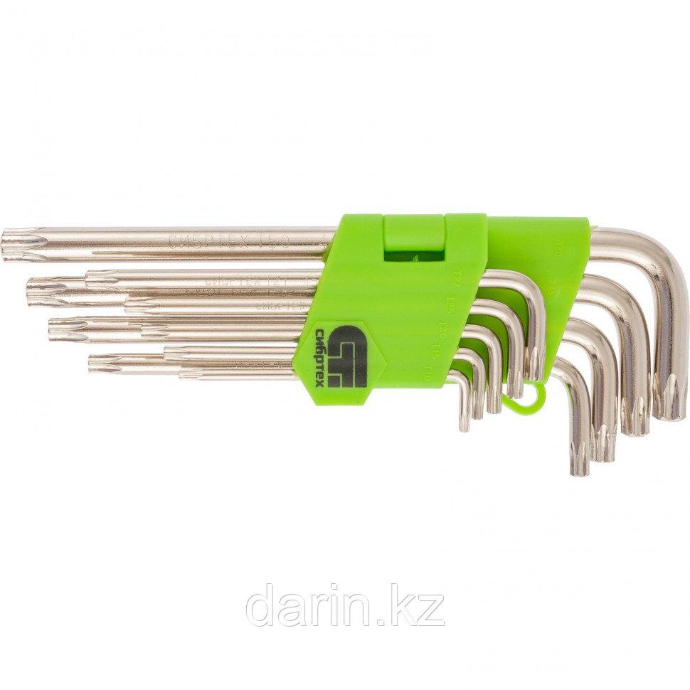 Набор ключей имбусовых Tamper-Torx , 9 шт: ТТ10-ТТ50.45x, закаленные, удлиненные, никель Сибртех