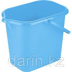 Ведро пластмассовое прямоугольное 16 л, голубое ligHt, Россия Elfe