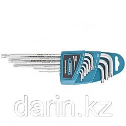 Набор ключей имбусовых Torx -TT, 9 шт: T10-T50, экстра-длинные, S2, сатинированные Gross