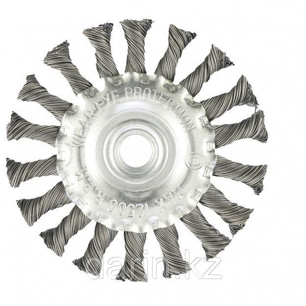 Щетка для УШМ 100 мм, М14, плоская, крученая проволока 0.5 мм Matrix