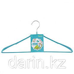 Вешалка метал для верхней одежды с прорезиненным противоскользящим покрытием 45 см, бирюзовая Elfe