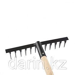 Грабли стальные, 300 х 1300 мм, 12 витых зубьев, деревянный черенок, Россия, Сибртех