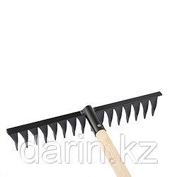 Грабли стальные, 420 х 1300 мм, 16 витых зубьев, деревянный черенок, Россия, Сибртех