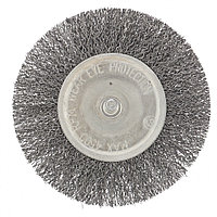 Щетка для дрели 100 мм, плоская со шпилькой, витая проволока Сибртех, фото 1