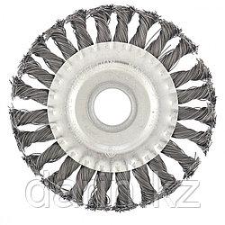 Щетка для УШМ 125 мм, посадка 22.2 мм, плоская, крученая металлическая проволока Сибртех