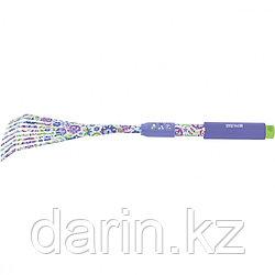 Грабли веерные 9 - зубые, 145 х 500 мм, стальные, удлиненная рукоятка, Flower Mint, Palisad