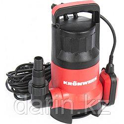Дренажный насос для грязной воды KP800, 800 Вт, подъем 8 м, 13000 л/ч Kronwerk