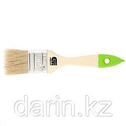 Кисть плоская 36 мм, натуральная щетина, деревянная ручка Сибртех