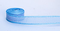 Декоративная лента полу-прозрачная, тканная, голубая, 2.5 см