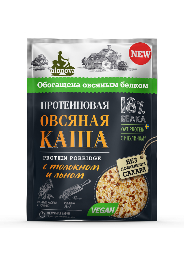 Протеиновая овсяная каша Bionova® с толокном и льном (vegan protein)