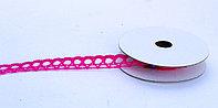 Лента кружевная тканная, розовая, 1 см