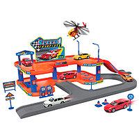 Игрушка Welly (Велли) игровой набор Гараж,  включает 3 машины и вертолет