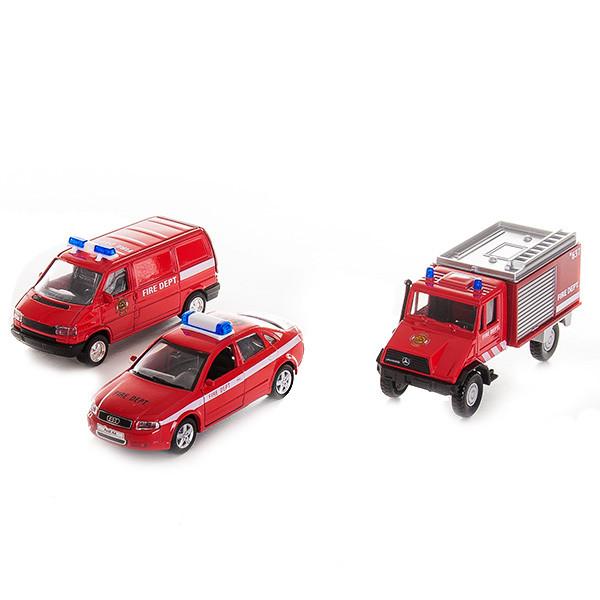 """Игрушка Welly (Велли) набор машин """"Пожарная служба"""" 3 шт."""