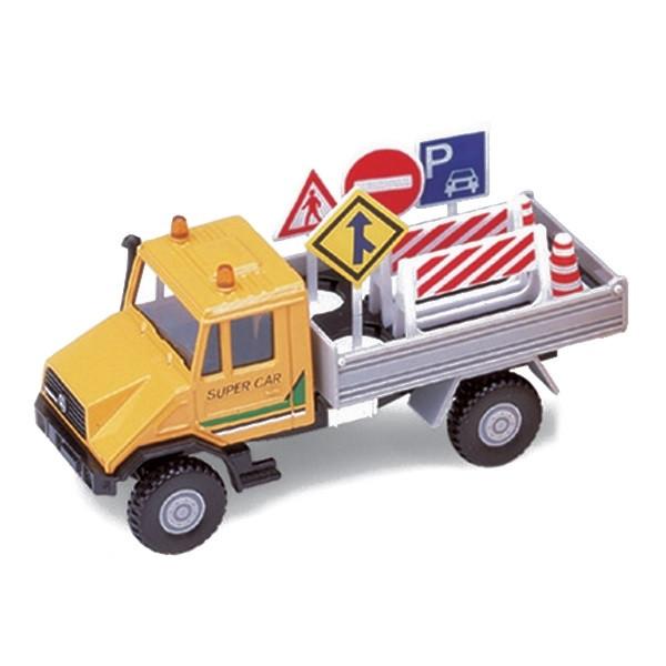 Игрушка Welly (Велли) модель машины Mercedes-Benz Unimog с дорожными знаками