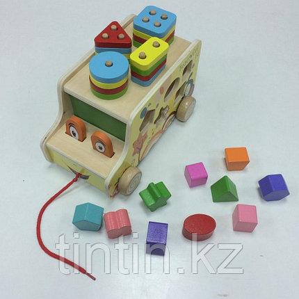 Деревянный автобус каталка-сортер 3 в 1, фото 2