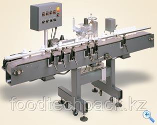 Этикетировочная машина для нанесения двух  самоклеящихся этикеток с одного рулона на круглые упаковки