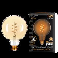 Лампа GAUSS LED FILAMENT G120 FLEXIBLE E27  GOLDEN 2400 К