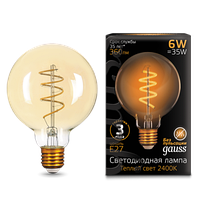 Лампа  GAUSS LED FILAMENT G95 FLEXIBLE GOLDEN 2400К
