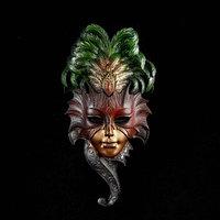 Венецианская маска 'Сова' 28см золото МИКС