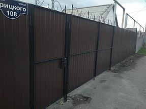 Ворота и калитка из профлиста цветного (вид с улицы)