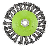 """Щетка для УШМ, 125 мм, М14, """"тарелка"""", крученая металлическая проволока Сибртех, фото 1"""