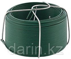 Проволока с ПВХ покрытием, зеленая 0.9 мм, длина 50 м Сибртех