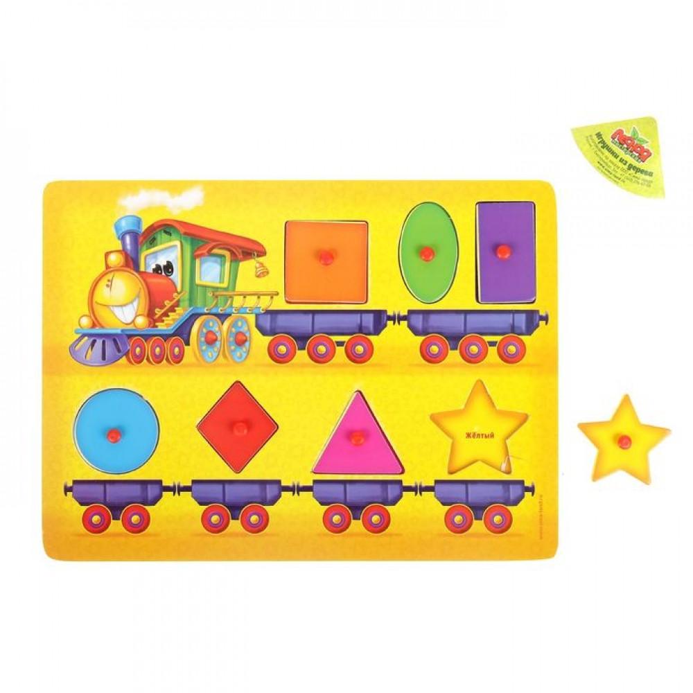 """Деревянная игрушка """"Рамка-вкладыш Монтессори: Весёлый паровозик"""", 7 элементов"""