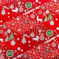 Бумага упаковочная глянцевая «Северные олени», 70 × 100 см, фото 1
