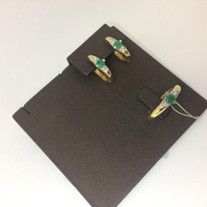 Комплект с изумрудом и бриллиантами - фото 1