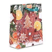 Пакет крафтовый вертикальный «Ароматы зимнего вечера», 18 × 23 × 8 см