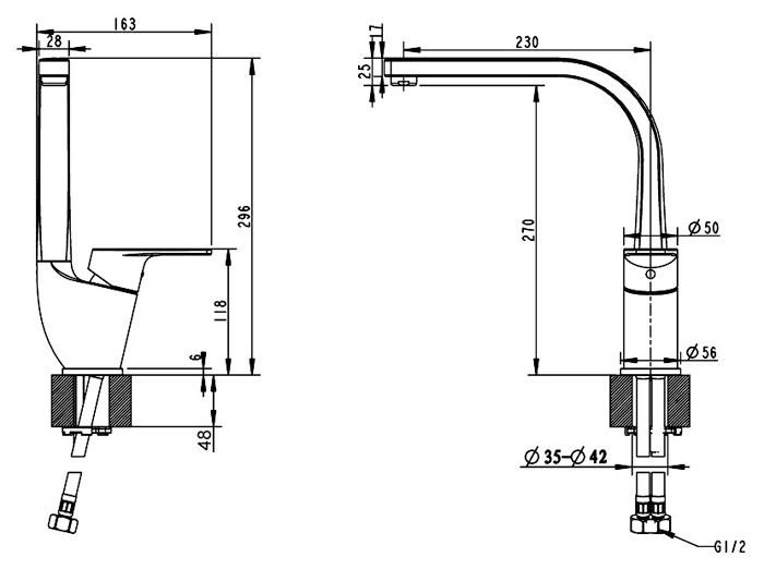 Смеситель Bravat Line F75299C-2 для кухни с высоким поворотным изливом - фото 2