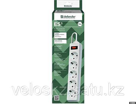 Сетевой фильтр Defender ES 5, 5м, 5 розеток, белый, фото 2