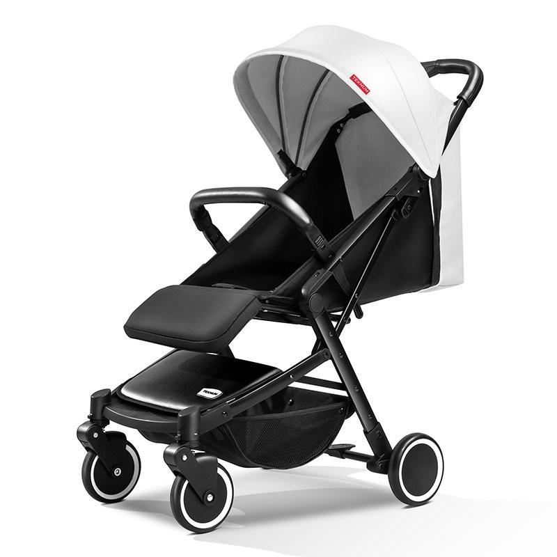 Детская прогулочная коляска Teknum 308, белая экокожа