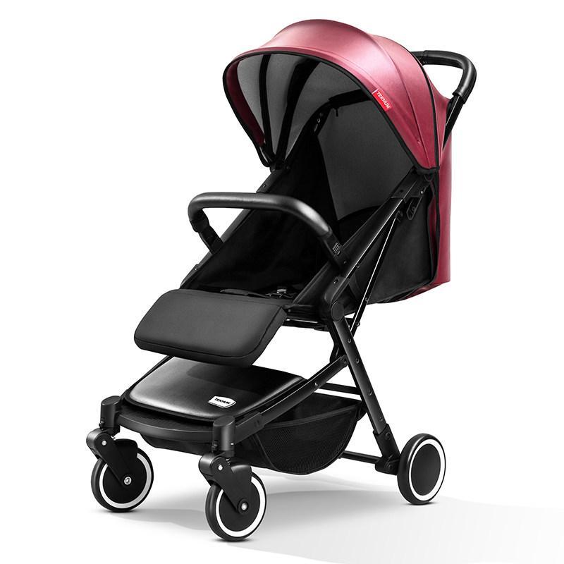 Детская прогулочная коляска Teknum 308 (экокожа), бордо