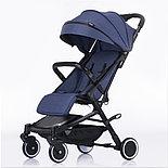 Детская прогулочная коляска Teknum 308 (лён), джинс, фото 3