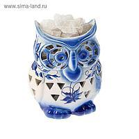 """Светильник соляной """"Сова"""", гжель, керамическое основание, 2-3 кг"""