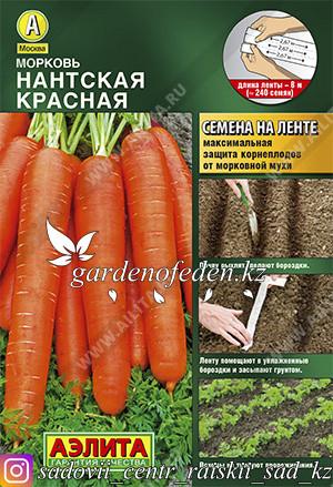 "Семена моркови на ленте Аэлита ""Нантская красная""."
