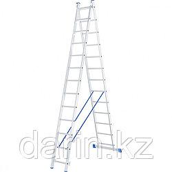 Лестница, 2 х 13 ступеней, алюминиевая, двухсекционная, Россия, Сибртех
