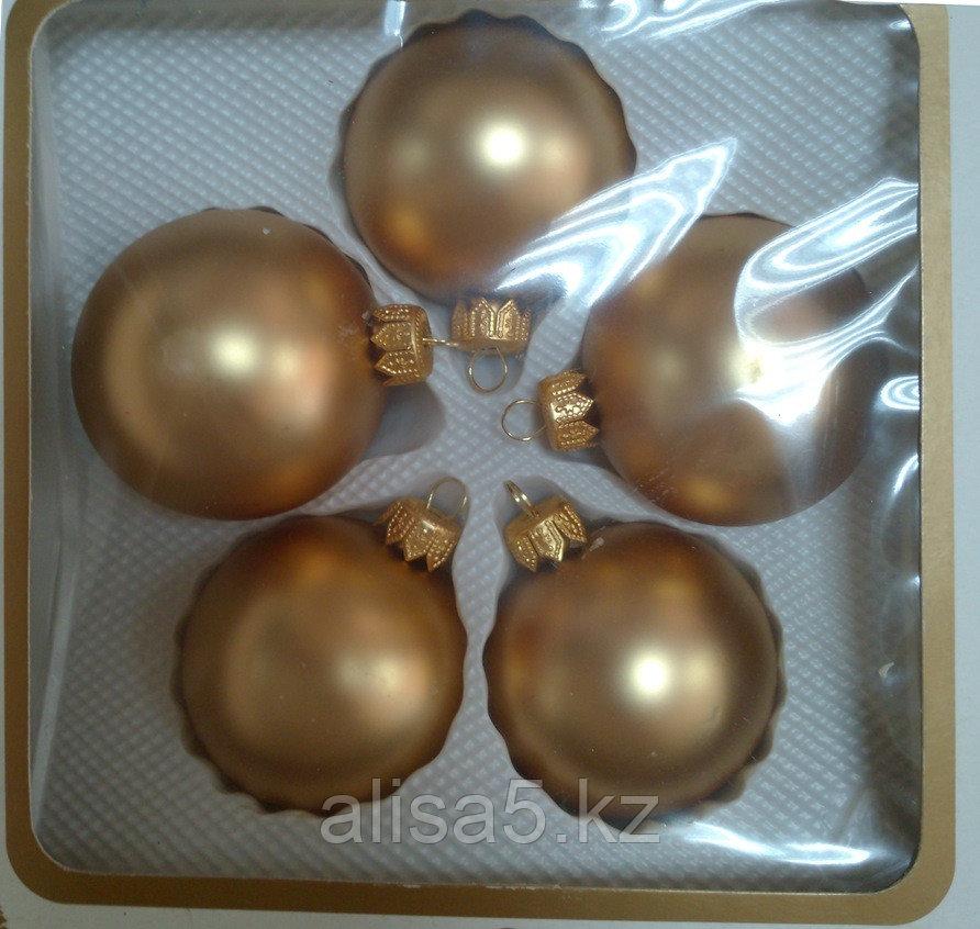 Шары ёлочные золотые 6 см / 5шт., упаковка
