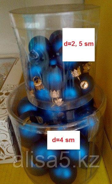 Шары ёлочные синие 2,5 см и 4 см / 40шт, упаковка