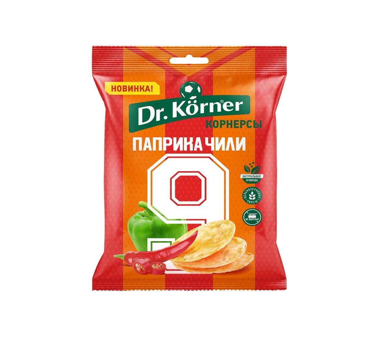 Чипсы Dr.Korner цельнозерновые кукурузно-рисовые с паприкой и чили
