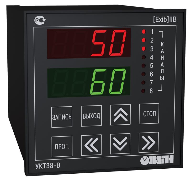 Измеритель температуры 8-канальный с аварийной сигнализацией и встроенным барьером искрозащиты УКТ38-В