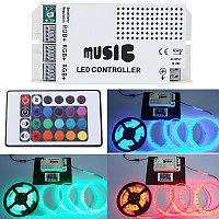 Музыкальный контроллер для RGB светодиодной ленты с пультом  MCIR-24-RGB